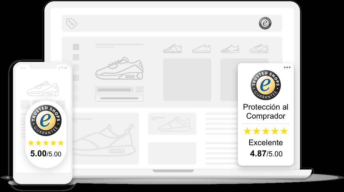 Según el diseño y los requisitos de la tienda online, el Sello de Calidad se puede mostrar en diferentes lugares: en la parte superior o en el pie de página en la parte inferior.